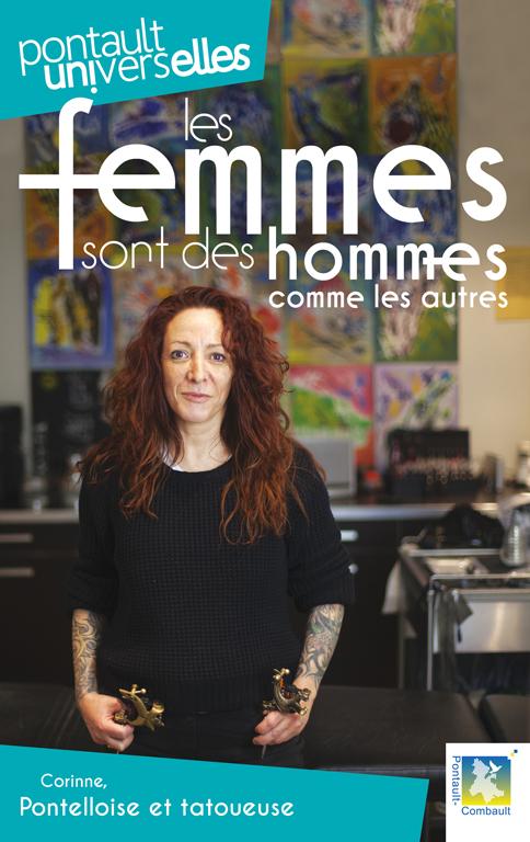 """Campagne d'affiches avec dix femmes aux métiers très différents """"les femmes sont des hommes comme les autres""""."""
