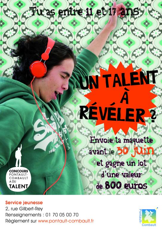 Affiches pour des inscriptions au 1er concours organisé pour de jeunes talents à Pontault-Combault